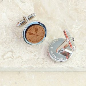 Personalised Wooden Crossed Oar Cufflinks by EVY Designs