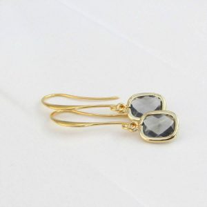 Rectangle Faceted Glass Drop Earrings