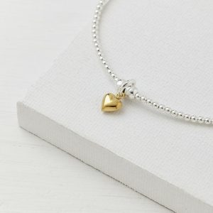 Silver Beaded Tiny Gold Heart Bracelet by EVY Designs Ltd