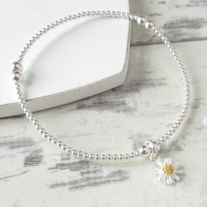 Silver Beaded Daisy Bracelet by EVY DESIGNS