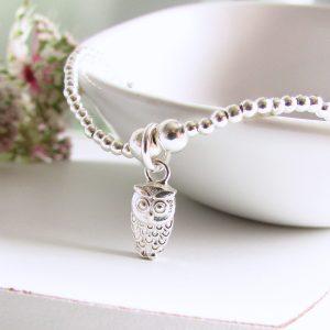 Silver Beaded Tiny Owl Bracelet by EVY Designs Ltd