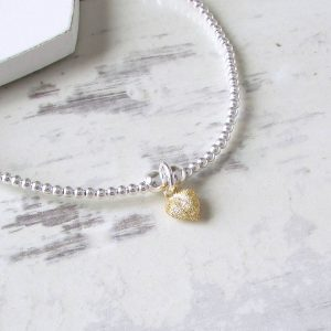Silver Beaded Tiny Gold Frosted Heart Bracelet by EVY Designs Ltd