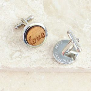 Personalised Wooden Love Cufflinks
