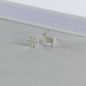 Reindeer And Snowflake Sterling Silver Earrings by EVY Designs