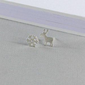 Sterling Silver Reindeer Snowflake Stud Earrings