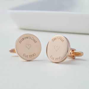 Personalised Rose Gold Round Est Cufflinks