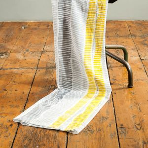 Grey And Mustard Stripe Print Scarf