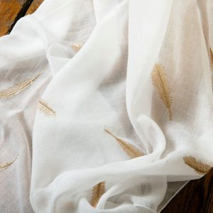 White Metallic Gold Feather Scarf